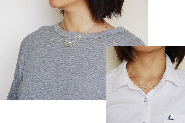 フェリシモ 華奢見え磁気ネックレスの着画