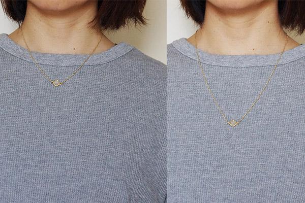 フェリシモお気に入りのネックレスで血行促進磁気アジャスターのありなし着画