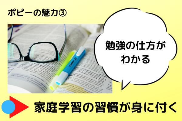 小学ポピーの魅力3つめは、勉強の仕方がわかるから、家庭学習の習慣が身につくです。