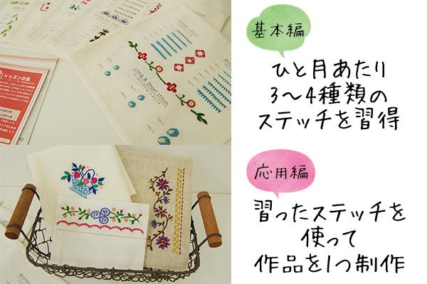 フェリシモクチュリエ刺繍きほんのきレッスン内容