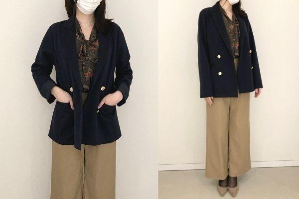 フェリシモイディットすっきりこなれ見え カットソー素材の紺ブレジャケットは、毎年人気のジャケットを、より今年らしく着られるダブルボタンで更新したものです。