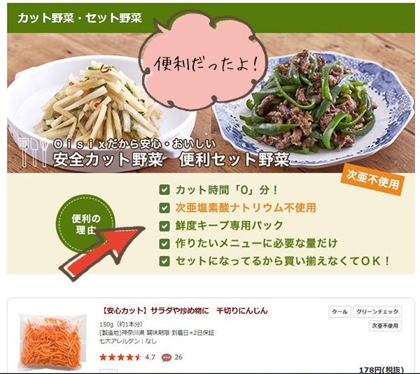 oisixオイシックスミールキットに含まれるカット野菜