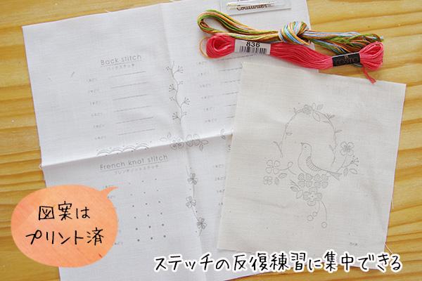 フェリシモクチュリエ刺繍きほんのきプリント済の図案