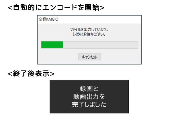 ソースネクストの全録KAIGIOでは自動録画設定をしておくことで、ZOOMによるリモート会議終了後録画も自動終了となり、その後エンコード、キャプチャ生成されます。