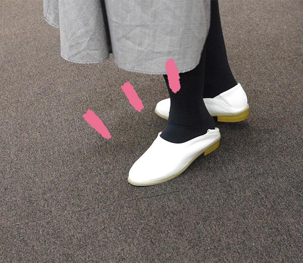 フェリシモはまじとコラボシューティーはかかとを踏みつぶして履くこともできます。