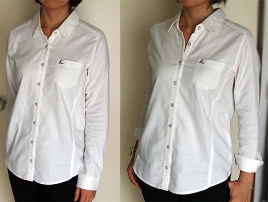 フェリシモリブインコンフォート重ね着してももたつかない! ストレッチガーゼ×カットソーの伸びシャツ、オフホワイトの着画。