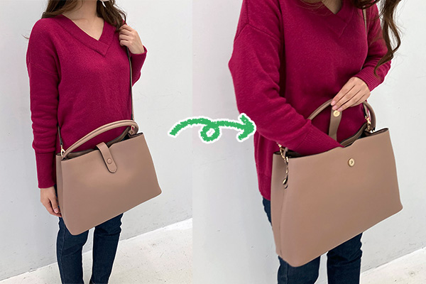 フェリシモいっしょ買いバッグIEDIT イディット 香村薫さんとコラボ A4サイズが入って中身がきちんと整理できる ワンショルダー2-WAYバッグは斜めがけで使うこともできます。