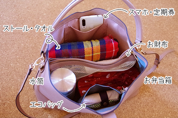 フェリシモいっしょ買いバッグIEDIT イディット 香村薫さんとコラボ A4サイズが入って中身がきちんと整理できる ワンショルダー2-WAYバッグに荷物を入れてみました。