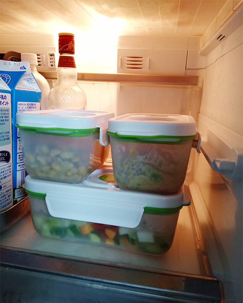 真空保存容器フォーサ角型を冷蔵庫内で保存している様子