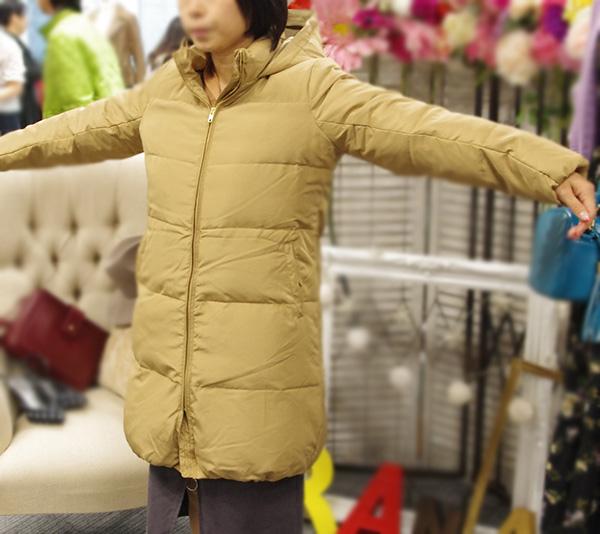 ベルーナラナンリアルファー付きロングコートのサイズ選び方