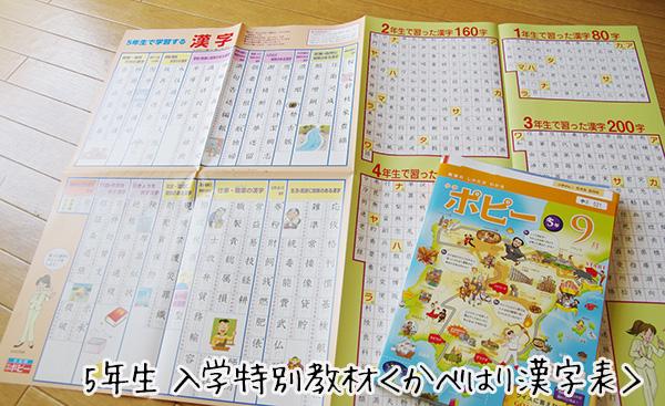 小学ポピー入会特別教材セットかべはり漢字表の口コミ