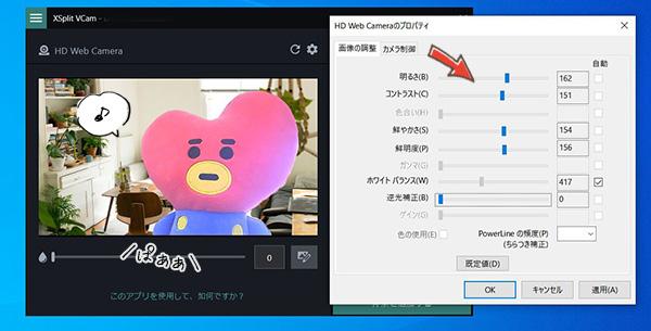 ソースネクストエクスプリットブイカムでwebカメラの映り方を調節する方法