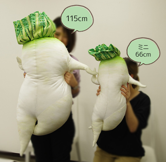 フェリシモユーモアセクシー大根抱き枕とミニのサイズ比較